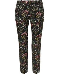 Erdem Oscar Cotton-blend Floral-jacquard Slim-leg Trousers - Black