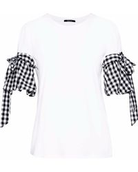 Raoul - Gingham Poplin-paneled Cotton-blend Jersey Top - Lyst