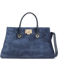 Jimmy Choo - Leather-trimmed Suede Tote - Lyst