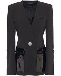 David Koma Patent-leather Trimmed Cady Blazer Black