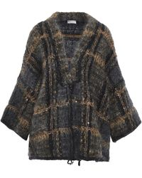 Brunello Cucinelli Oversized Sequin-embellished Checked Mohair-blend Cardigan Black