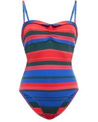 Simone Perele Simone Pérèle Ruched Striped Bandeau Swimsuit - Blue
