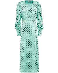 Paul & Joe Polka-dot Satin-crepe Midi Wrap Dress - Green