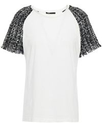 Maje Tweed-paneled Cotton And Modal-blend Jersey T-shirt - White
