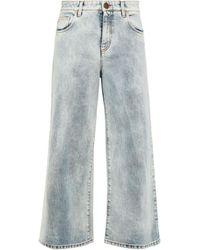 Vivetta Cropped Faded High-rise Wide-leg Jeans Light Denim - Blue