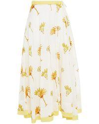 Antik Batik Palmy Printed Cotton-mousseline Maxi Skirt - White