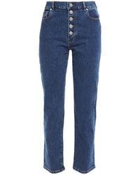 JOSEPH Den Cropped High-rise Straight-leg Jeans Mid Denim - Blue
