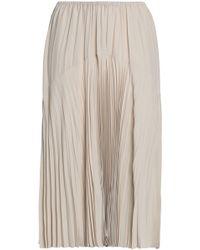 Vince - Plissé-paneled Crepe De Chine Midi Skirt - Lyst