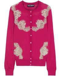 Dolce & Gabbana Lace-paneled Silk Cardigan - Multicolour