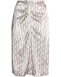 Isabel Marant - Ruched Printed Hammered-silk Skirt - Lyst