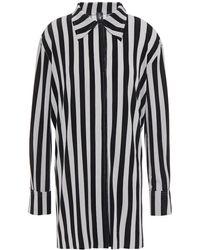 Norma Kamali Striped Stretch-jersey Shirt Light Grey