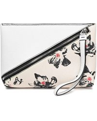 Proenza Schouler - Woman Floral-print Textured-leather Clutch White - Lyst