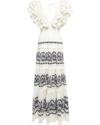 Ulla Johnson Ruffled Embroidered Cotton Maxi Dress - White