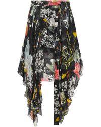Preen By Thornton Bregazzi - Woman Alanis Asymmetric Floral-print Devoré Silk-blend Chiffon Skirt Black - Lyst