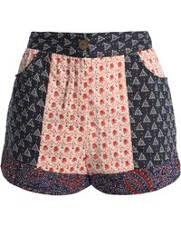 Antik Batik Patye Patchwork Cotton Shorts Midnight Blue