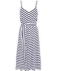 Être Cécile Être Cécile Paris Belted Striped Cotton-jersey Midi Dress - Blue