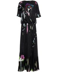 Giorgio Armani Wrap-effect Floral-print Mulberry Silk-blend Chiffon And Jacquard Maxi Dress - Black