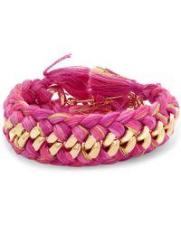 Aurelie Bidermann - Do Brasil 18-karat Gold And Braided Cotton Bracelet - Lyst