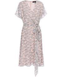 DKNY Draped Wrap-effect Floral-print Georgette Dress Pastel Pink