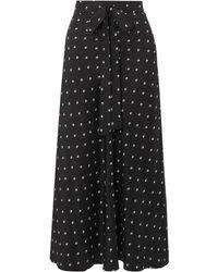 Lee Mathews Roxie Floral-print Silk-satin Maxi Skirt - Black