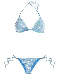Missoni Sequined Printed Stretch-jersey Triangle Bikini Azure - Blue