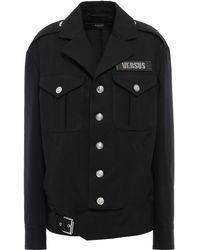 Versus - Appliquéd Buckle-detailed Cotton-canvas Jacket Black - Lyst