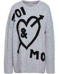 Cinq À Sept - Woman Intarsia-knit Sweater Light Grey - Lyst