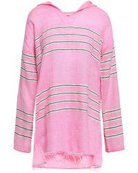 lemlem - Striped Cotton-blend Gauze Hooded Coverup Bubblegum - Lyst
