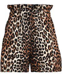Ganni - Leopard-print Cotton Shorts Animal Print - Lyst