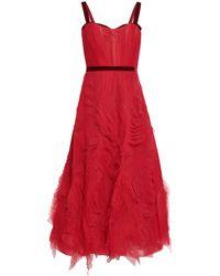 Marchesa notte - Velvet-trimmed Ruffled Tulle Maxi Dress Crimson - Lyst