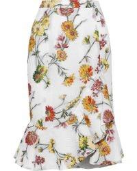 Prabal Gurung - Asymmetric Fluted Matelassé Floral-jacquard Skirt White - Lyst