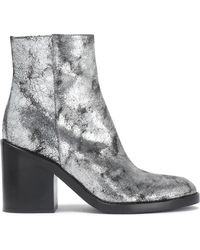 Ann Demeulemeester - Metallic Cracked-leather Ankle Boots - Lyst