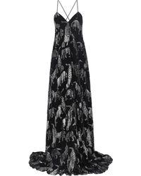 Carolina Herrera Open-back Metallic Fil Coupé Chiffon Gown Black