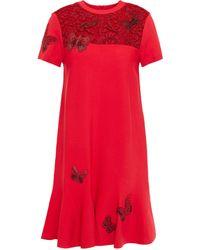 Valentino Lace-paneled Embellished Stretch-knit Mini Dress Red