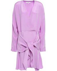 Tibi Tie-front Silk-crepe Mini Dress - Purple