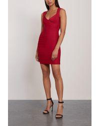 Hervé Léger Hervé Léger Sarai Cutout Bandage Mini Dress Crimson - Red