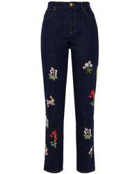 Vivetta Embroidered High-rise Slim-leg Jeans Dark Denim - Blue