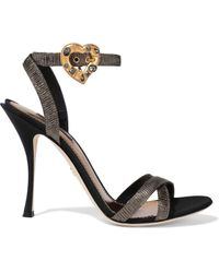 Dolce & Gabbana Keira Crystal-embellished Pleated Lamé Sandals Gold - Metallic