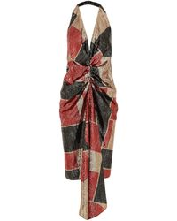 Halpern Draped Sequined Tulle Halterneck Midi Dress - Natural