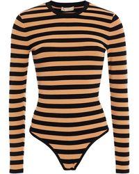 Michael Kors Striped Stretch-knit Bodysuit - Black