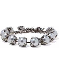 Valentino - Woman Gunmetal-tone Faux Pearl Bracelet Gunmetal - Lyst