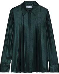 Gabriela Hearst Pierre Pleated Silk-lamé Shirt Emerald - Green