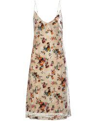 R13 Satin-trimmed Floral-print Crushed-velvet Midi Slip Dress - Natural