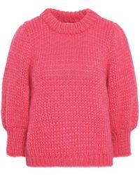 Ganni Julliard Mohair And Wool-blend Sweater Pink
