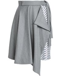 Carven - Draped Brushed-wool And Striped Twill Skirt - Lyst