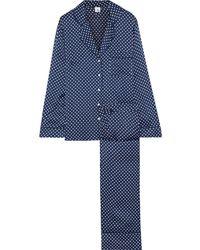 Iris & Ink Karly Satin Pyjama Set Navy - Blue
