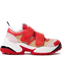 Sergio Rossi Color-block Mesh, Smooth And Patent-leather Sneakers - Red