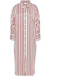 Anine Bing Striped Silk-satin Midi Dress - White
