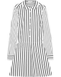 10 Crosby Derek Lam Striped Cotton-poplin Mini Shirt Dress White