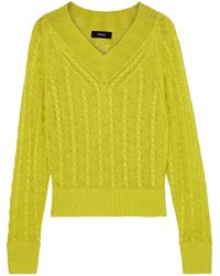 Theory Cable-knit Linen-blend Sweater Lime Green